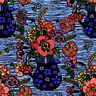 Woodcut bouquet by printsisters