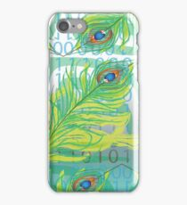 peacock feather with binary code writing iPhone Case/Skin