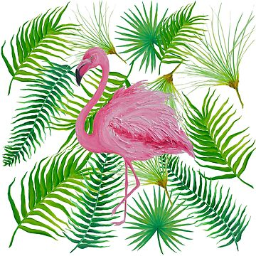 Tropical leaves and Pink Flamingos by MatsonArtDesign