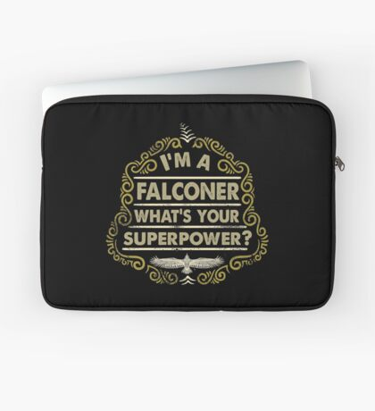 Funny Falconer's Gifts and Apparel - Vintage Styled Falconry Superpower Scroll Laptop Sleeve