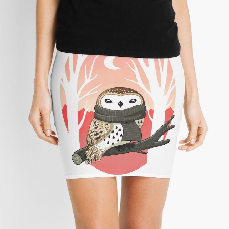 Winter Owl Mini Skirt
