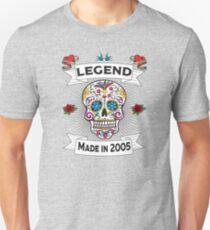 14th Birthday Design - Sugar Skull Legend Made In 2005 Unisex T-Shirt