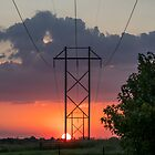 Country Powerline Sunset by Jennifer White