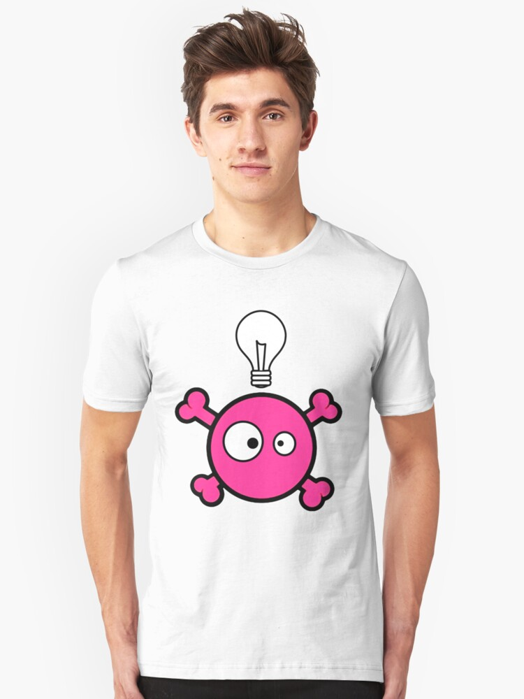 Funny pink skull and bones with ideea light bulb by queensoft