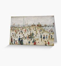 Laurence Stephen Lowry, Lytham Pier, The Beach Scene, Summer, L S Lowry, Oil on canvas, LS Lowry, Lawrence, Painting for sale Greeting Card