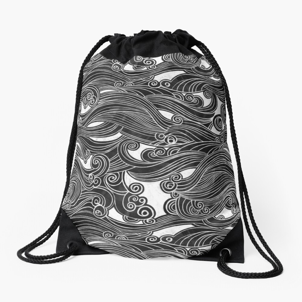Black Wave Drawstring Bag
