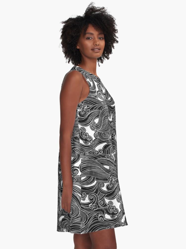 Alternate view of Black Wave A-Line Dress