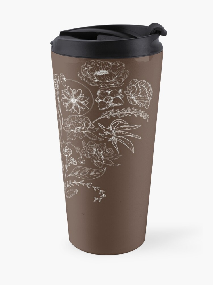 Alternate view of Crystals & Flowers (White/Brown) Travel Mug