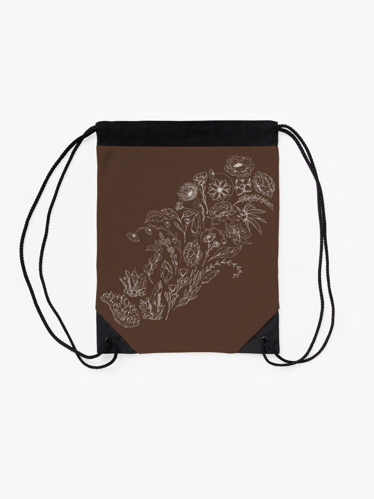 Alternate view of Crystals & Flowers (White/Brown) Drawstring Bag