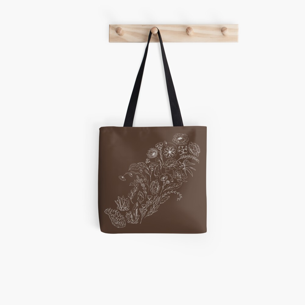 Crystals & Flowers (White/Brown) Tote Bag