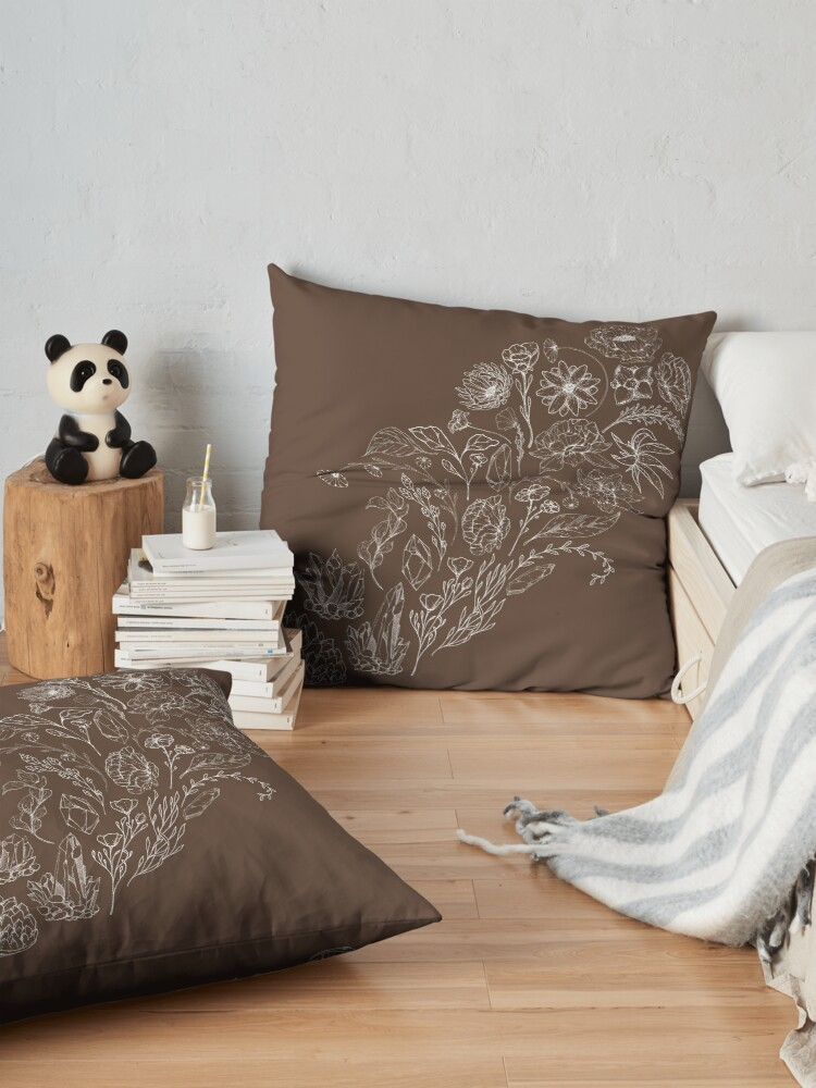 Alternate view of Crystals & Flowers (White/Brown) Floor Pillow