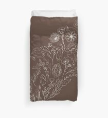 Crystals & Flowers (White/Brown) Duvet Cover