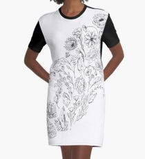 Crystals & Flowers (B&W) Graphic T-Shirt Dress