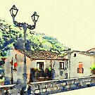 Lamp post, wall and houses of Papasidero by Giuseppe Cocco