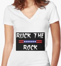 Ruck the rock Women's Fitted V-Neck T-Shirt