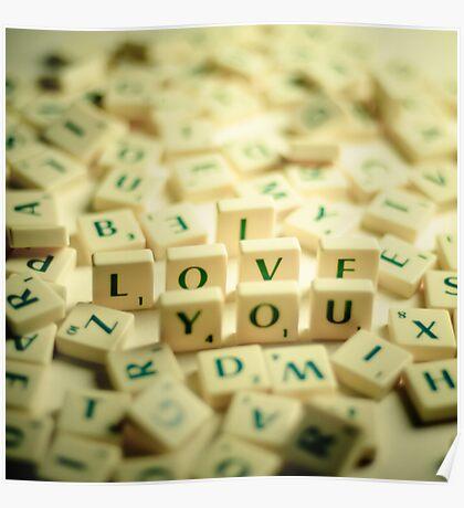 I Love You Scrabble Jumble. Poster
