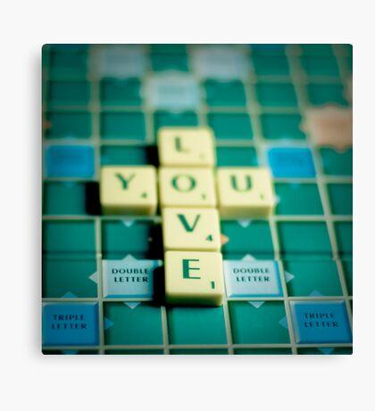 Love You Scrabble. Canvas Print