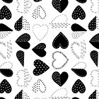 Black and White Patch Boro Embroidery Hearts by Markéta Stengl
