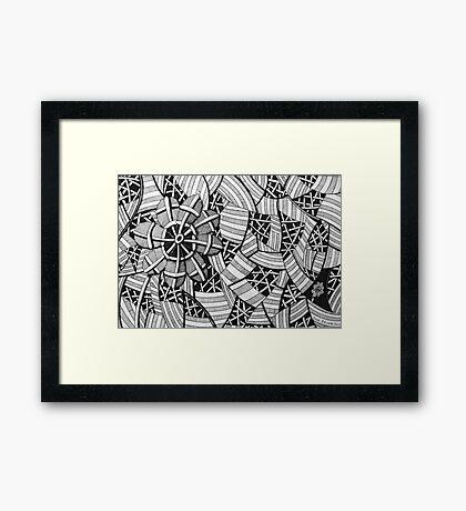 226 - FREE-HAND GEOMETRICAL FLORAL DESIGN - DAVE EDWARDS - INK - 2010 Framed Print