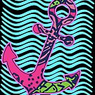 Preppy Anchor and Waves Blue and Pink Nautical Floral Bright Colors by funnytshirtemp