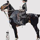 Lady on Black Horse..Jugendstil, 1915 by edsimoneit