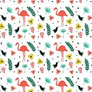 Tropical pattern flamingos and flowers by artonwear