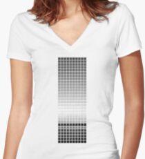 Horizon - Black & White Women's Fitted V-Neck T-Shirt