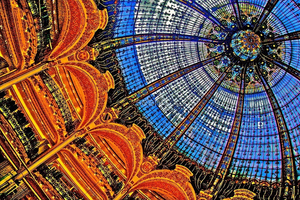 hdr of lafayette shopping center paris france glass ceiling dome