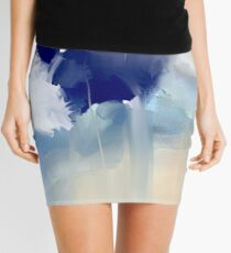White and blue flowers Mini Skirt