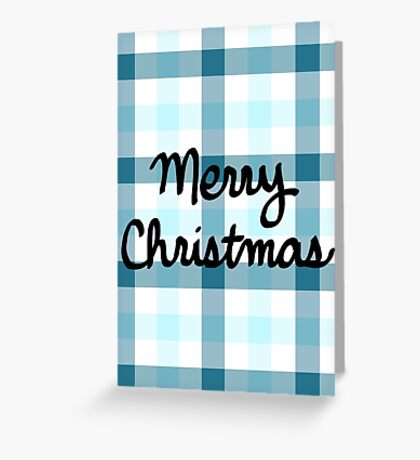 Merry Christmas - Blue Plaid Greeting Card