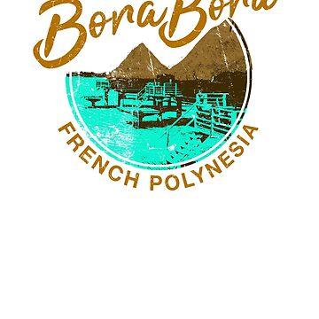 Bora Bora Over Water Bungalow French Polynesia Retro Travel by IronEcho