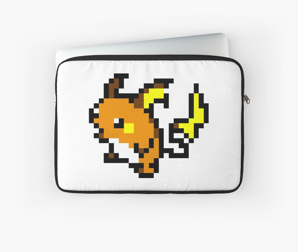 Pokemon 8 Bit Pixel Raichu 026 Laptop Sleeve By Shane Russell