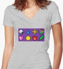Kanto League Pokemon Master Badges  Women's Fitted V-Neck T-Shirt