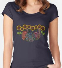 Cats With Sunflowers Women's Fitted Scoop T-Shirt