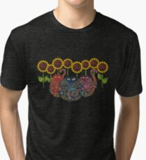 Cats With Sunflowers Tri-blend T-Shirt