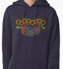 Cats With Sunflowers Pullover Hoodie