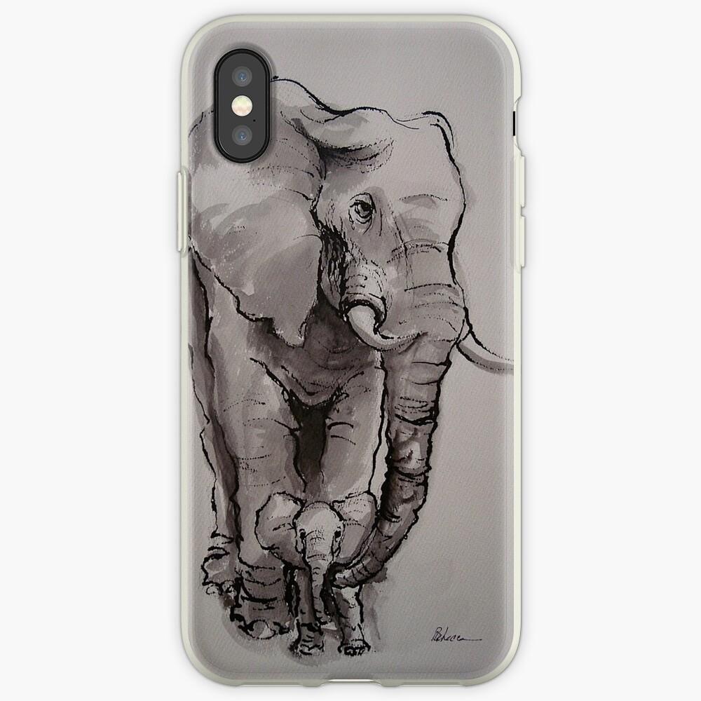 Mama Elephant & Baby - Tintenwaschmalerei auf Vintage-Papier iPhone-Hülle & Cover