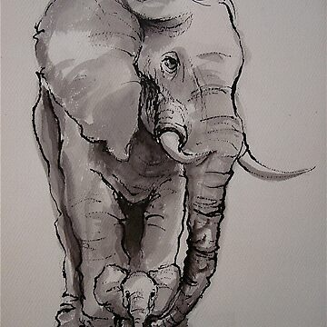 Mama Elephant & Baby - ink wash painting on vintage paper by tranquilwaters
