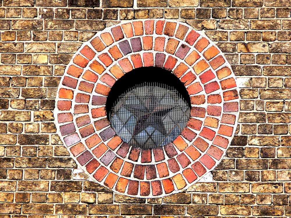 urban geometry 1 - stained glass, bricks and wire by Colin Seton