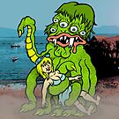 Sea Monster And Girl by Ross Radiation