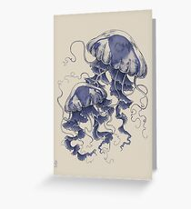 Jellyfish: In Bloom (Blue) Greeting Card
