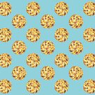 Chocolate Chip Cookie Pattern Watercolor by Erika Lancaster