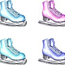 Ice Skate Winter Watercolor Pattern by Erika Lancaster