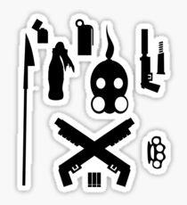 post apocaliptic equipment on your shirt whoooa Sticker