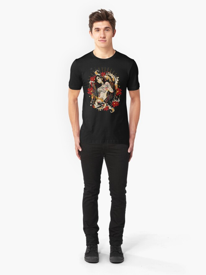 Alternate view of Cinco de Mayo Mexican Tattoo Pin-up Retro Vintage Day of The Dead Slim Fit T-Shirt