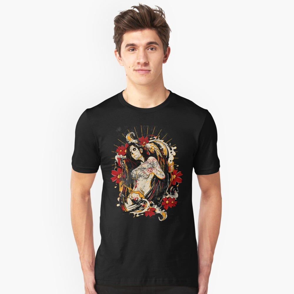 Mexican Tattoo Pin-up Retro Vintage Day of The Dead Unisex T-Shirt Front