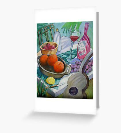 Wine, fruit, music.... my tribute to Paul Cezanne Greeting Card
