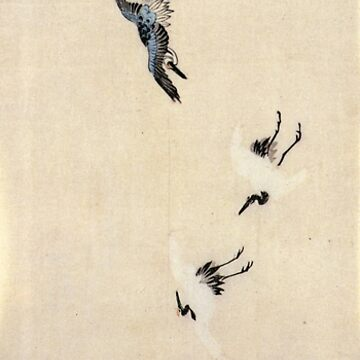 Cranes Flying by Utagawa Hiroshige (Reproduction) by RozAbellera