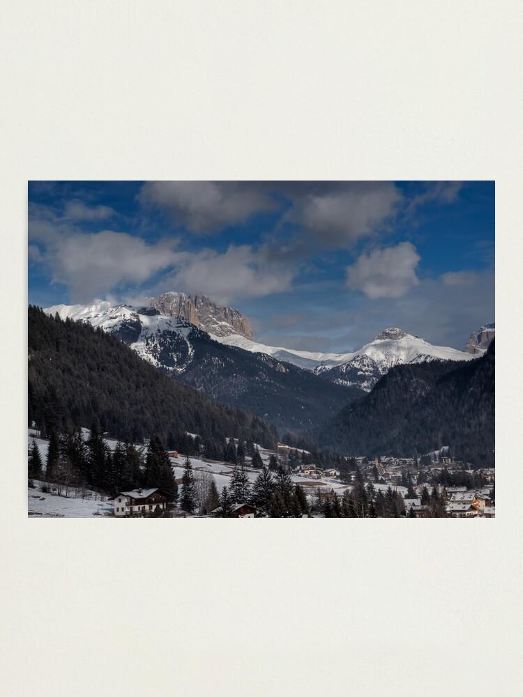 Alternate view of Panoramic view of Sassolungo from  Pozza di Fassa Photographic Print