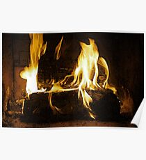 Cozy Fire on a Winter Day Poster